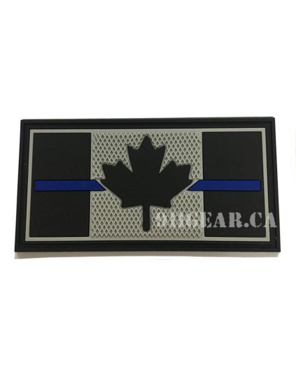 "Thin Blue Line PVC POLICE Patch - 3"" x 1.5"""