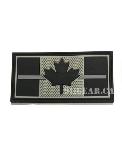 "Thin Grey/Silver Line PVC CORRECTIONS Patch - 3"" x 1.5"""