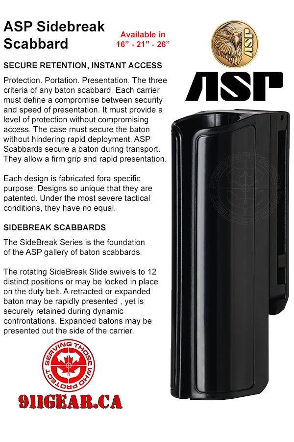 ASP Expandable Baton Sidebreak Scabbards 16 inch, 21 inch and 26 inch scabbards available at 911gear.ca