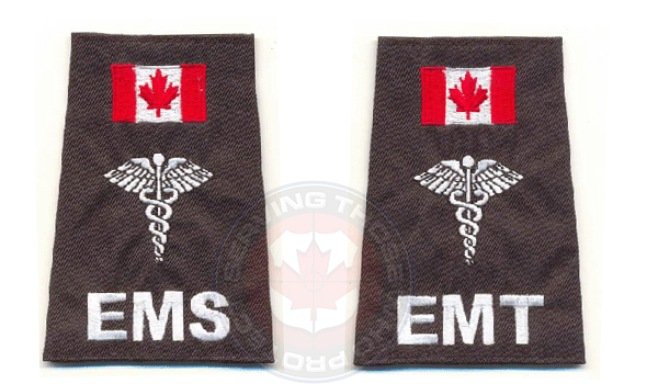 Emergency Medical Technician, EMT, Emergency Medical Services EMS, Ambulance and Paramedic epaulettes. With Caduceus or Star Of Life emblem and Canadian Flag