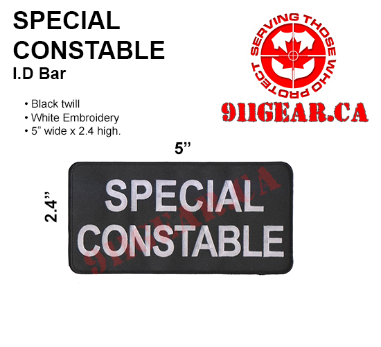 911gear.ca&#39s ID bar  with Embroidered Letters 1.5 cm high Patch  measures 12 cm x 3cm. Patches can sewn onto uniform jackets, uniform shirts, sweaters, duty bags