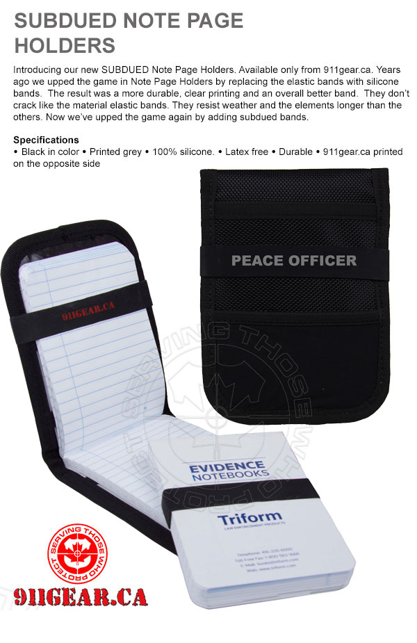 peace officer note page bands availabale at 911gear.ca