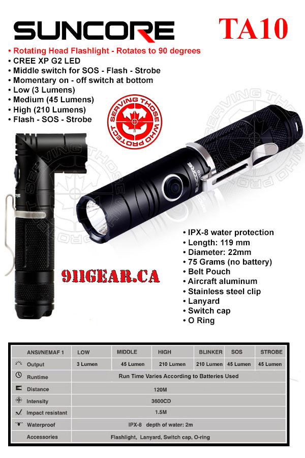 suncore ta10 rotating head tactical LED flashlights canada available at 911gear.ca