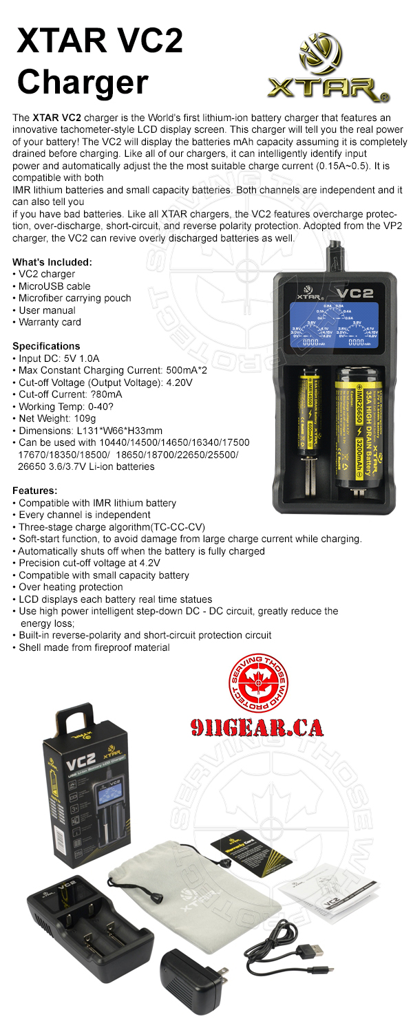XTAR WPS2 Charger available at 911gear.ca