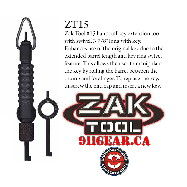 zak tools zt15 handcuff key available at 911gear.ca